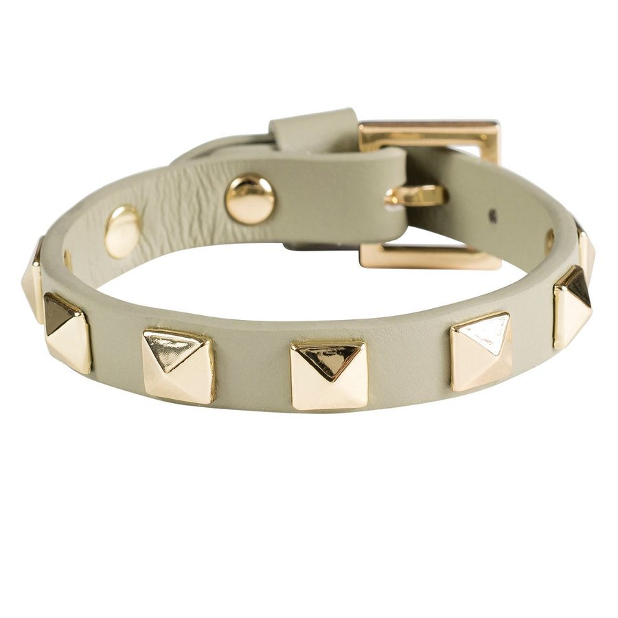 DARK Leather Stud Bracelet Faded Army With Gold
