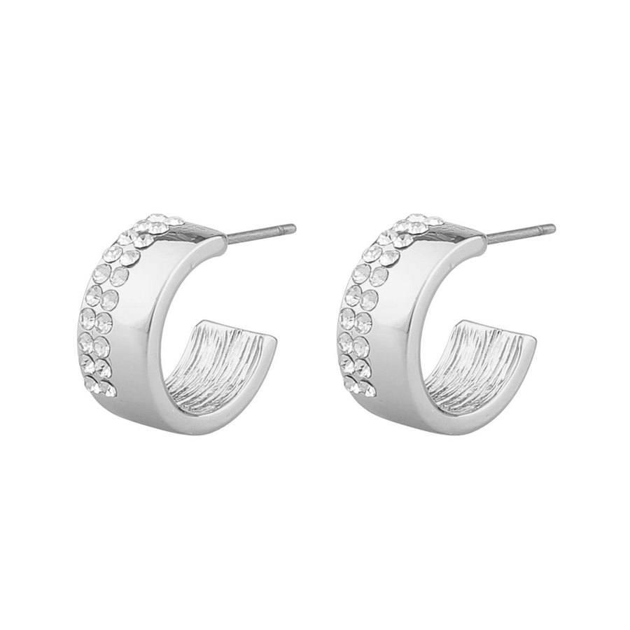 Snö of Sweden Marseille Small Oval Earring Silver/Clear