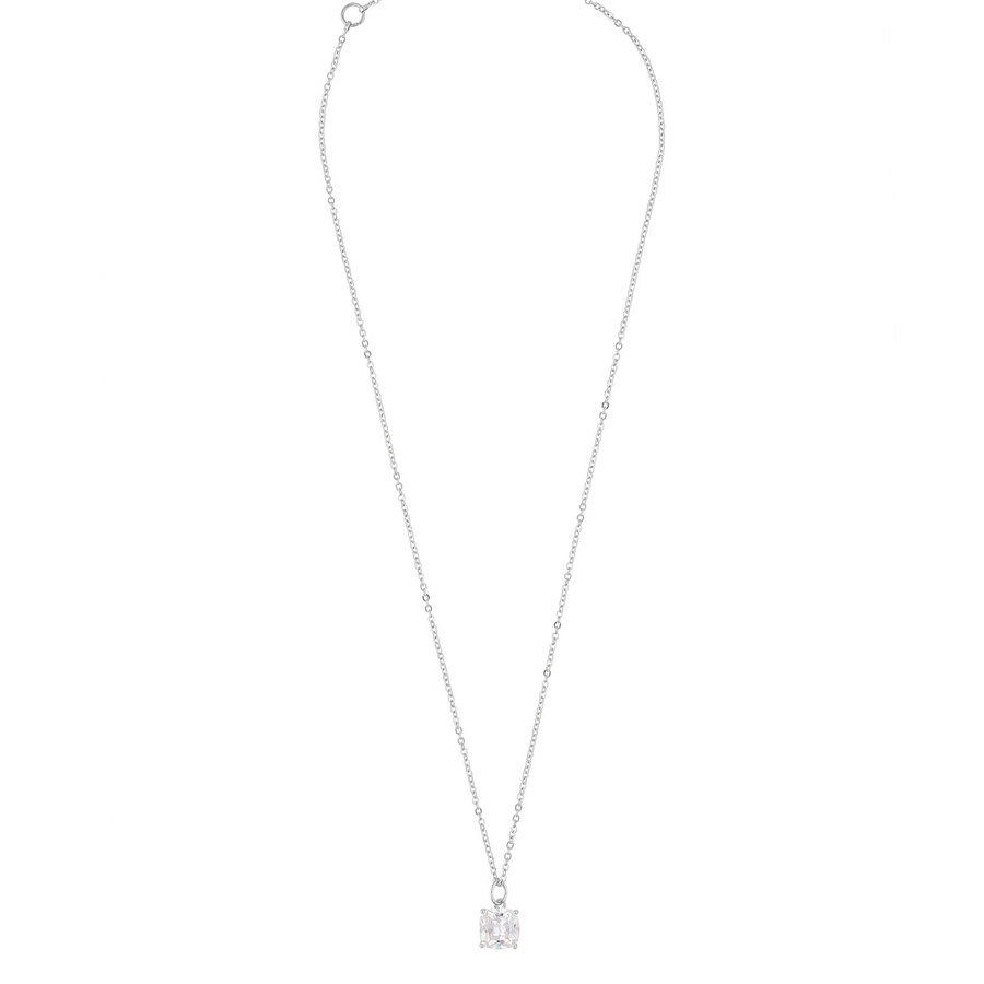 Snö of Sweden Camille Stone Pendant Necklace Silver/Clear 50 cm