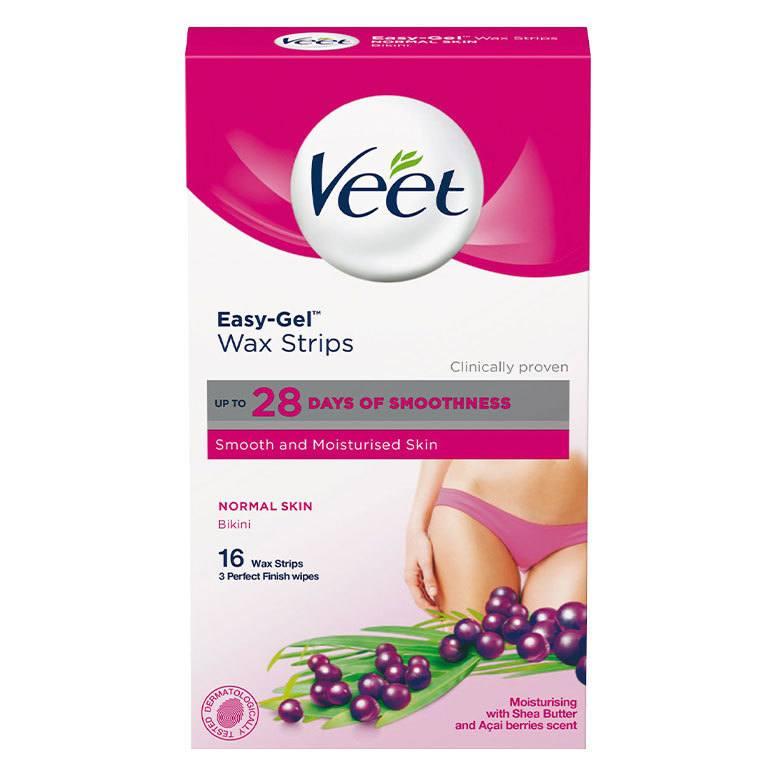 Veet Easy-Gel Wax Strips Normal Skin Bikini 16 st