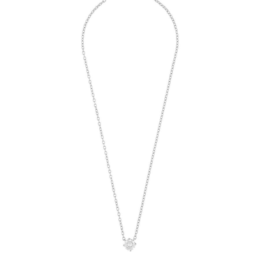 Snö of Sweden Luire Stone Pendant Necklace Silver/Clear 40 cm