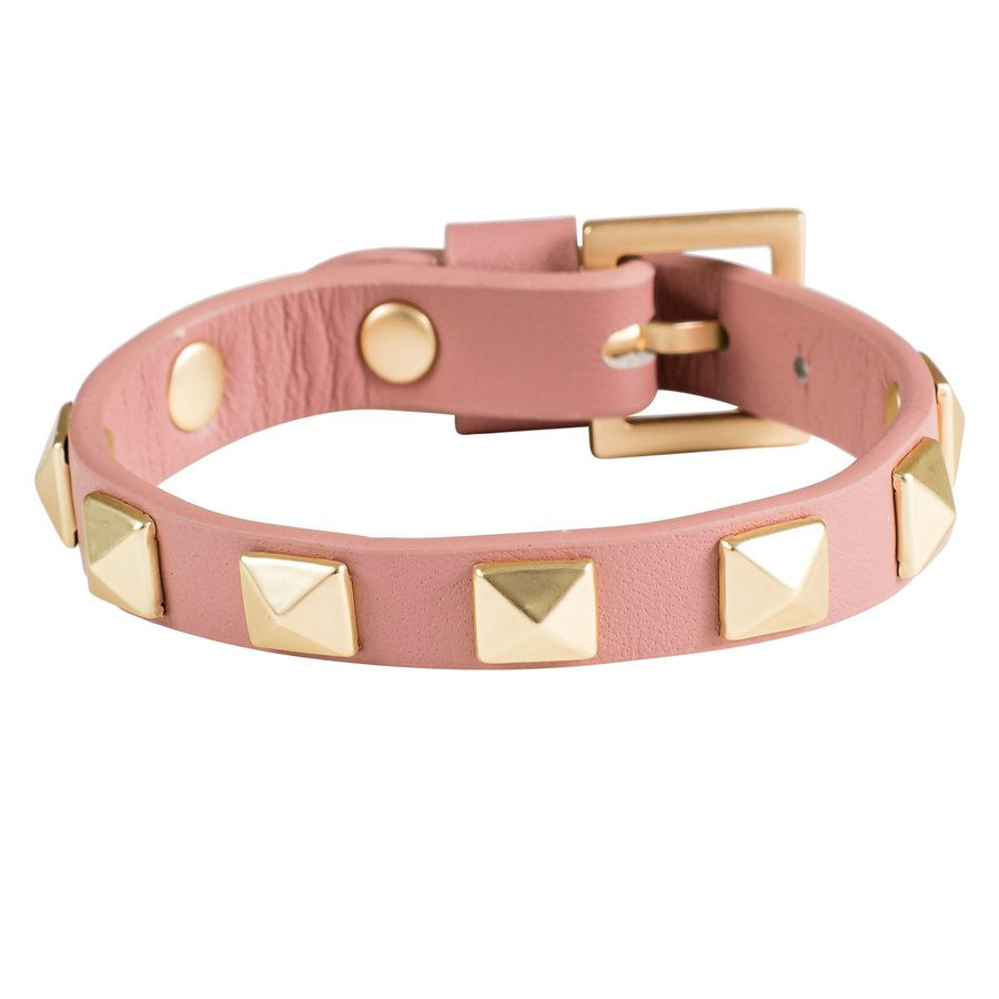 DARK Leather Stud Bracelet Dusty Rose With Matte Gold
