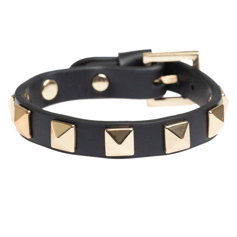 DARK Leather Stud Bracelet Black With Gold