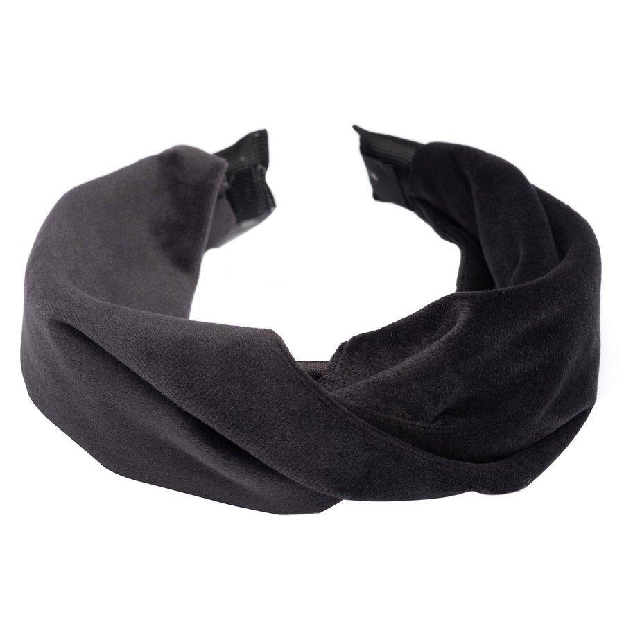 DARK Velvet Folded Hairband Charcoal