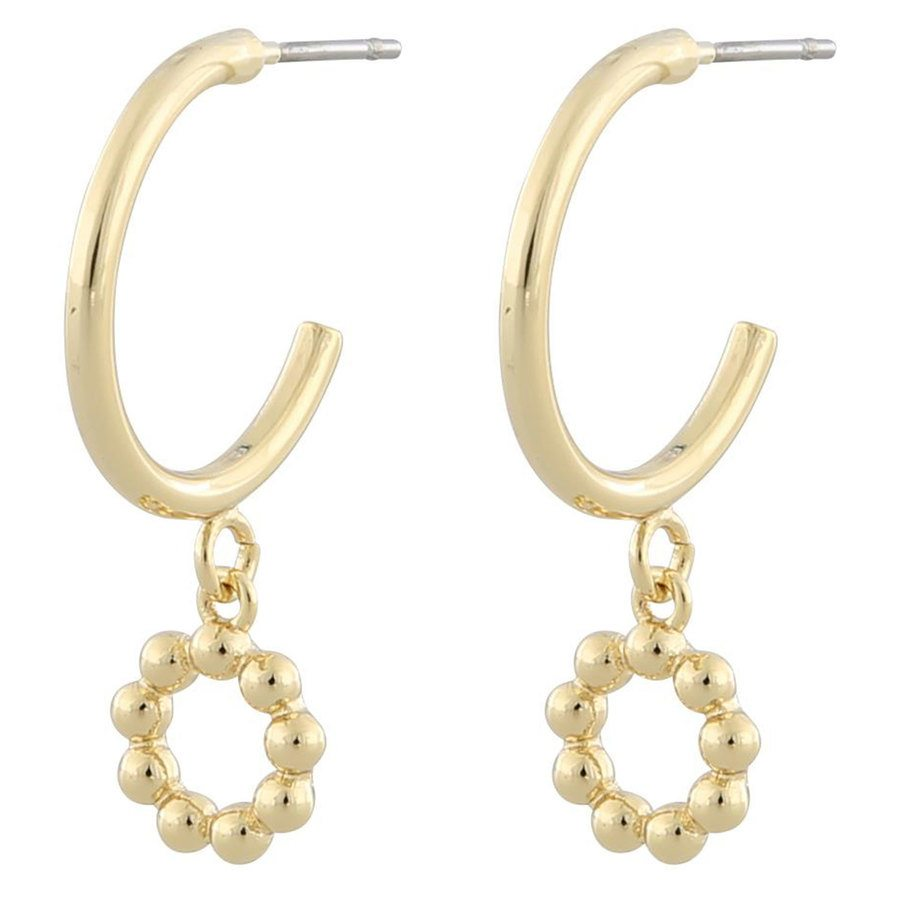 Snö of Sweden Point Small Oval Pendant Earring Plain Gold