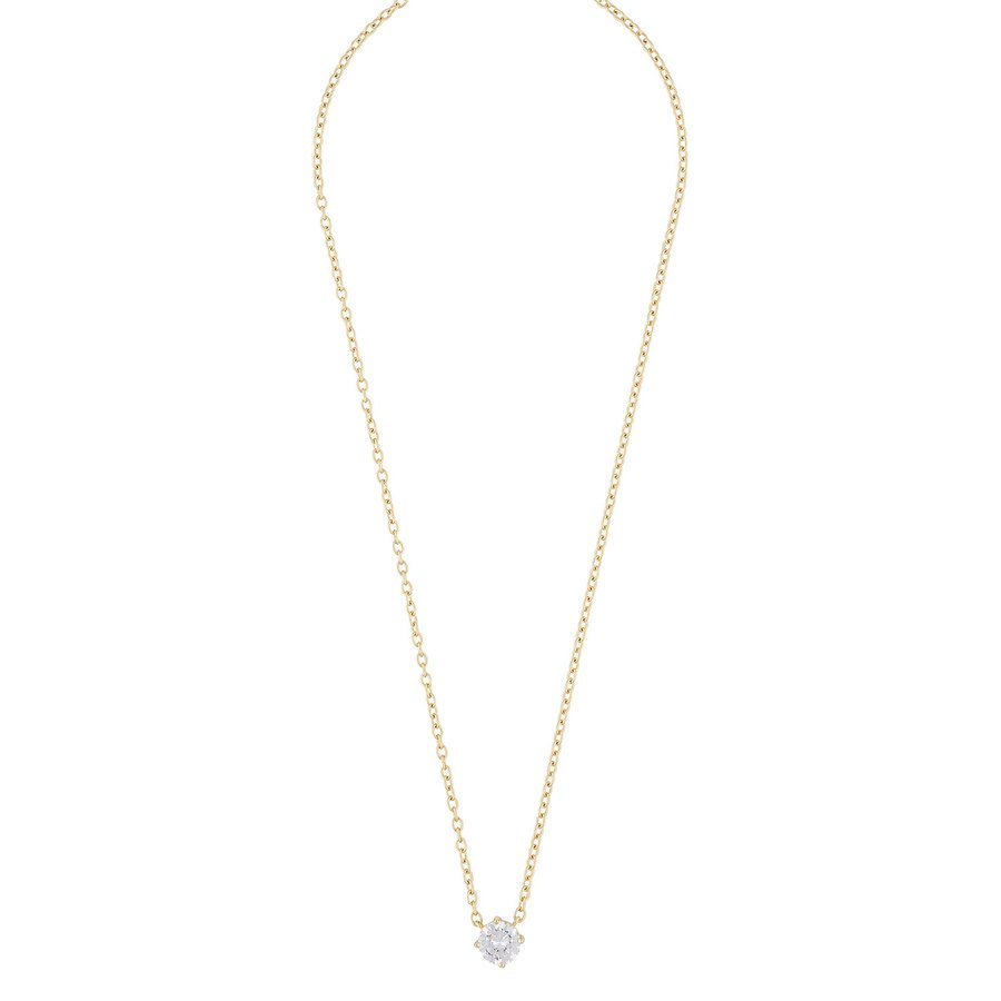 Snö of Sweden Luire Stone Pendant Necklace Gold/Clear 40 cm