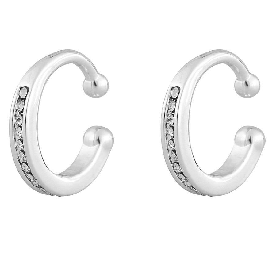 Snö of Sweden Later Small Cuff Earring Silver/Clear 1 par
