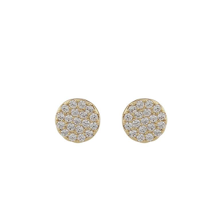 Snö Of Sweden Hanni Small Coin Earring Gold/Clear 8 mm