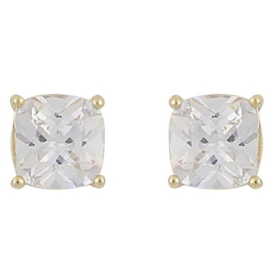 Snö of Sweden Camille Square Stone Earring Gold/Clear