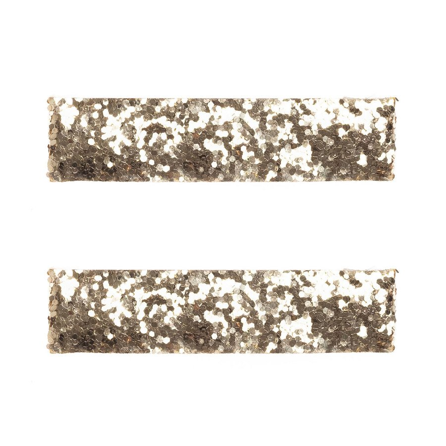 DARK Glitter Hair Clips Large Gold 2 st.