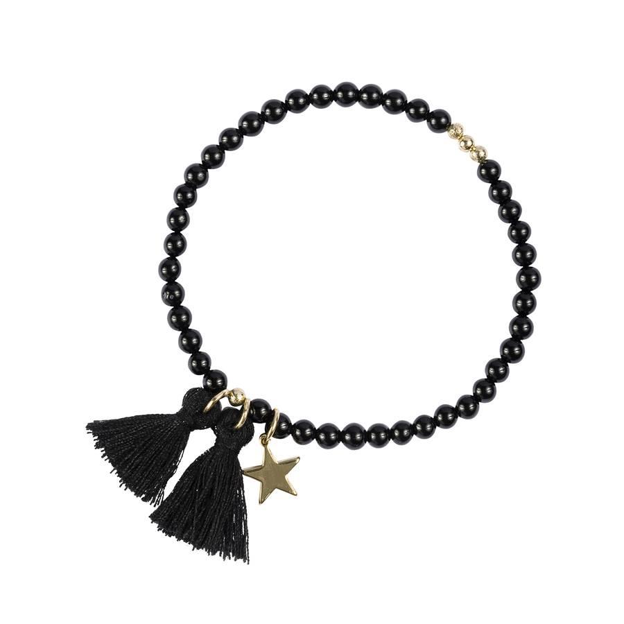 DARK Stone Bead Bracelet Shiny Black 4 mm
