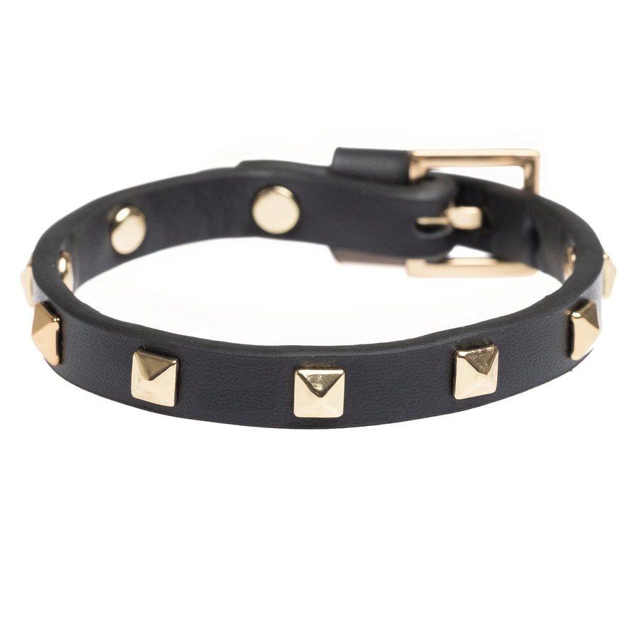DARK Leather Stud Bracelet Mini Black With Gold