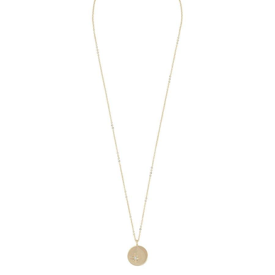 Snö of Sweden Feliz Pendant Coin Necklace Gold/Clear 45 cm