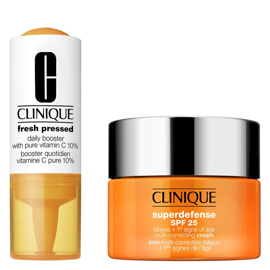 Clinique Fresh Pressed 7-Day Recharge System: Daily Booster With Vitamin C 10% + Superdefense Cream Skin Type 3 + 4
