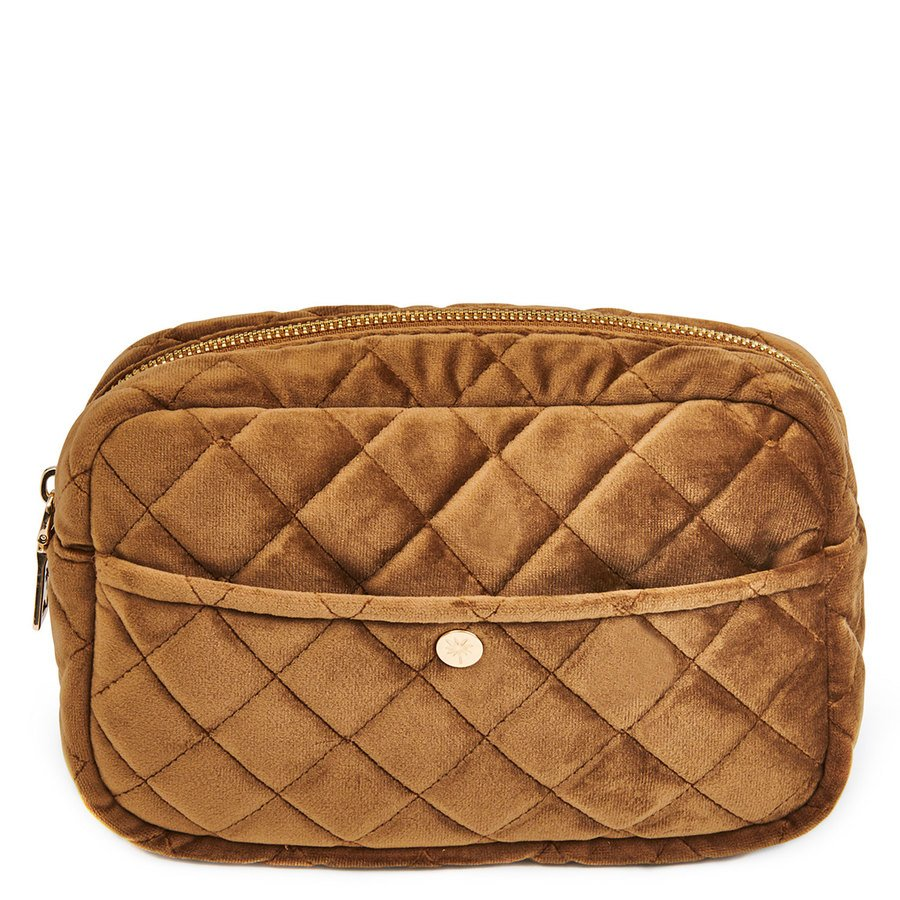 Fan Palm Beauty Bag Quilted Velvet Cognac Medium