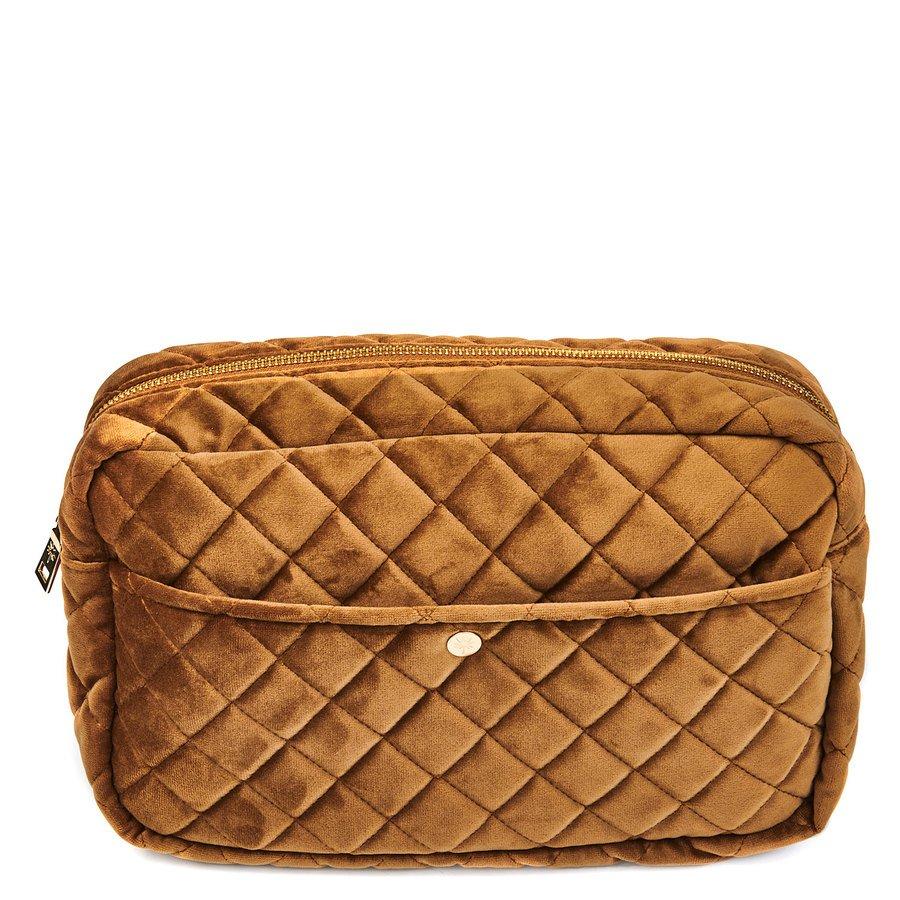 Fan Palm Beauty Bag Quilted Velvet Cognac Large