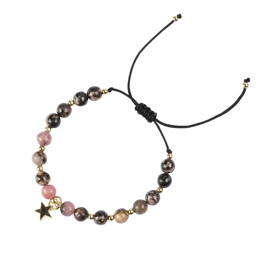 DARK Stone Bead Bracelet Rose & Blacks 6 mm