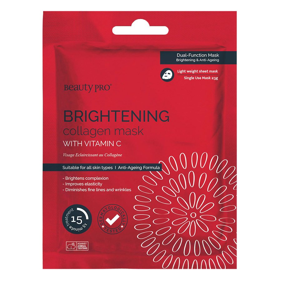 BeautyPro Brightening Collagen Sheet Mask With Vitamin C 23 g