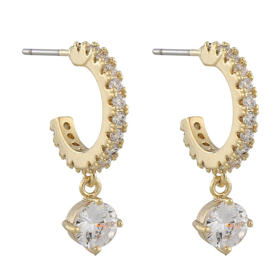 Snö of Sweden Luire Stone Oval Pendant Earring Gold/Clear