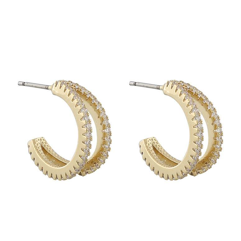 Snö Of Sweden Hanni Double Ring Earring Gold/Clear 16 mm