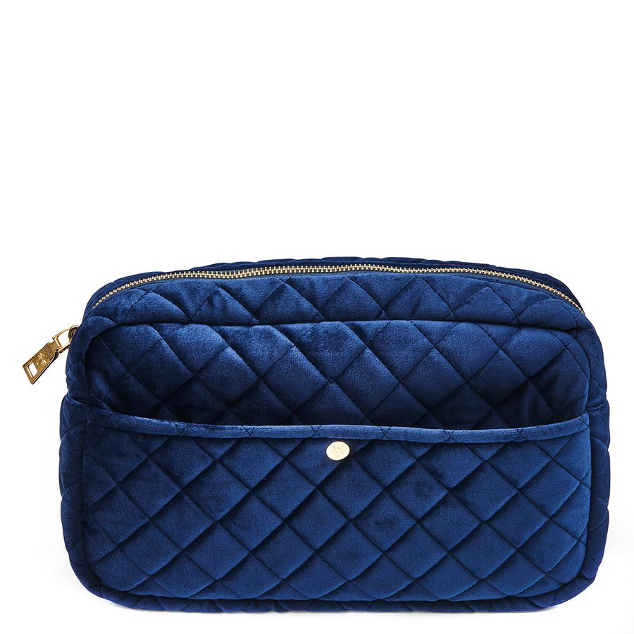 Fan Palm Beauty Bag Quilted Velvet Midnight Blue Large
