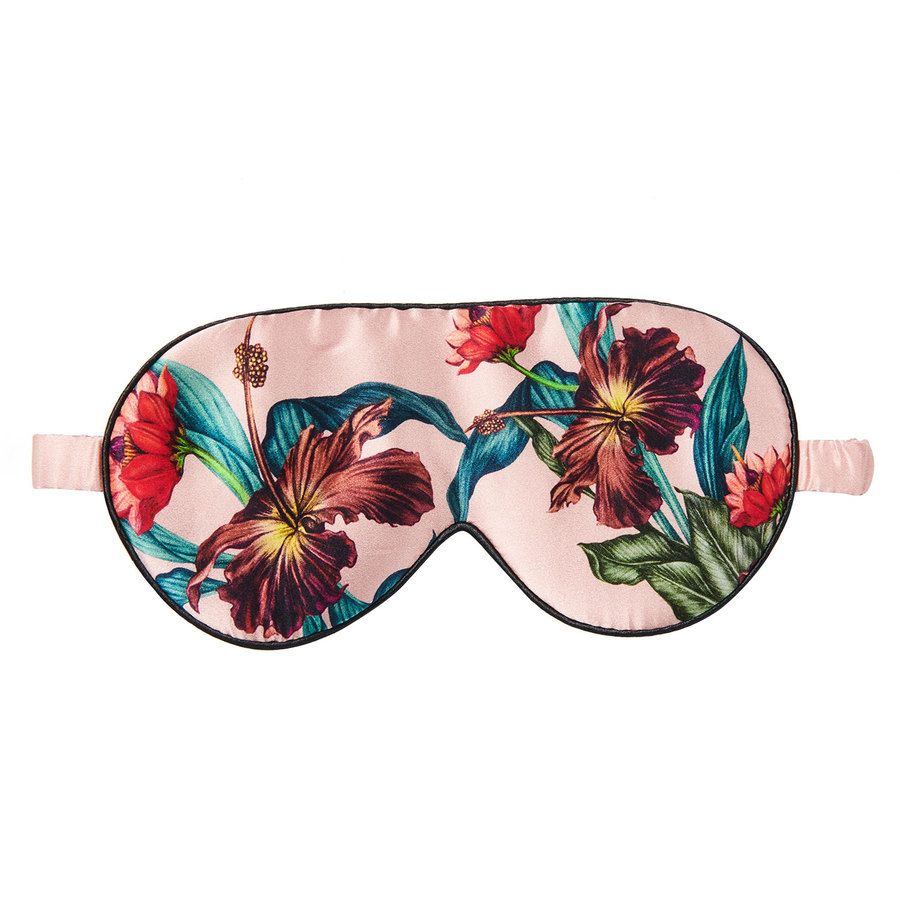 Fan Palm Sleeping Eye Mask Silk Vintage Flower 20 x 10 cm