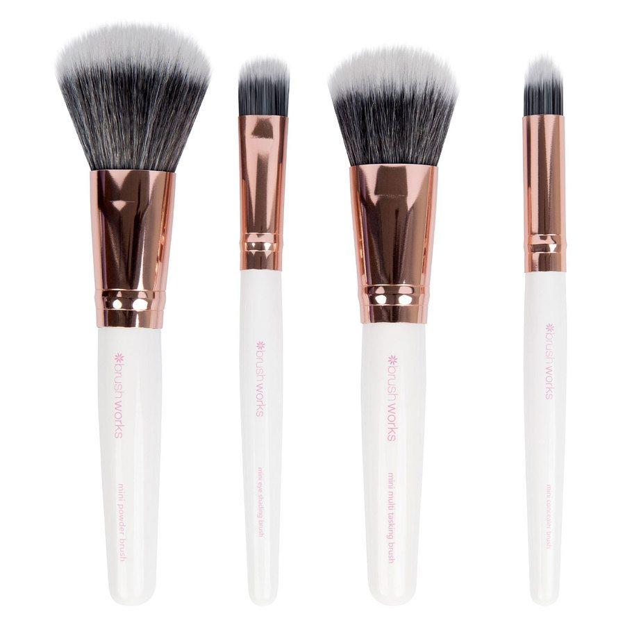 Brushworks White & Gold Travel Makeup Brush Set