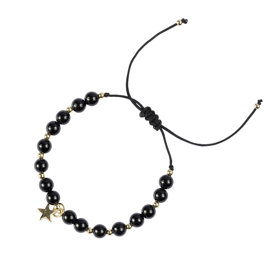DARK Stone Bead Bracelet Shiny Black 6 mm