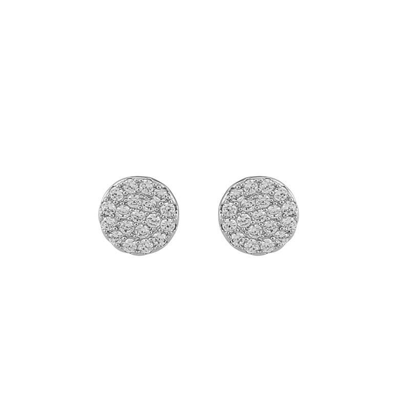 Snö Of Sweden Hanni Small Coin Earring Silver/Clear 8 mm