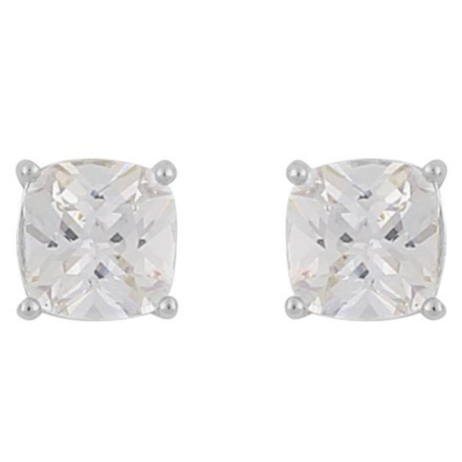 Snö of Sweden Camille Square Stone Earring Silver/Clear