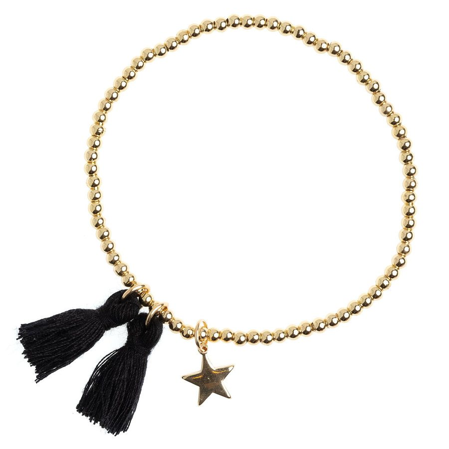 DARK Metal Bead Bracelet With Tassel Black