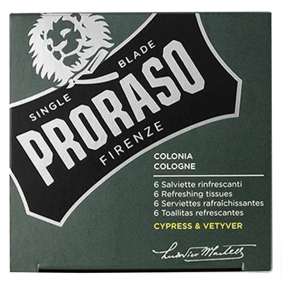 Proraso Beard Wipes Cypress & Vetyver 6 st