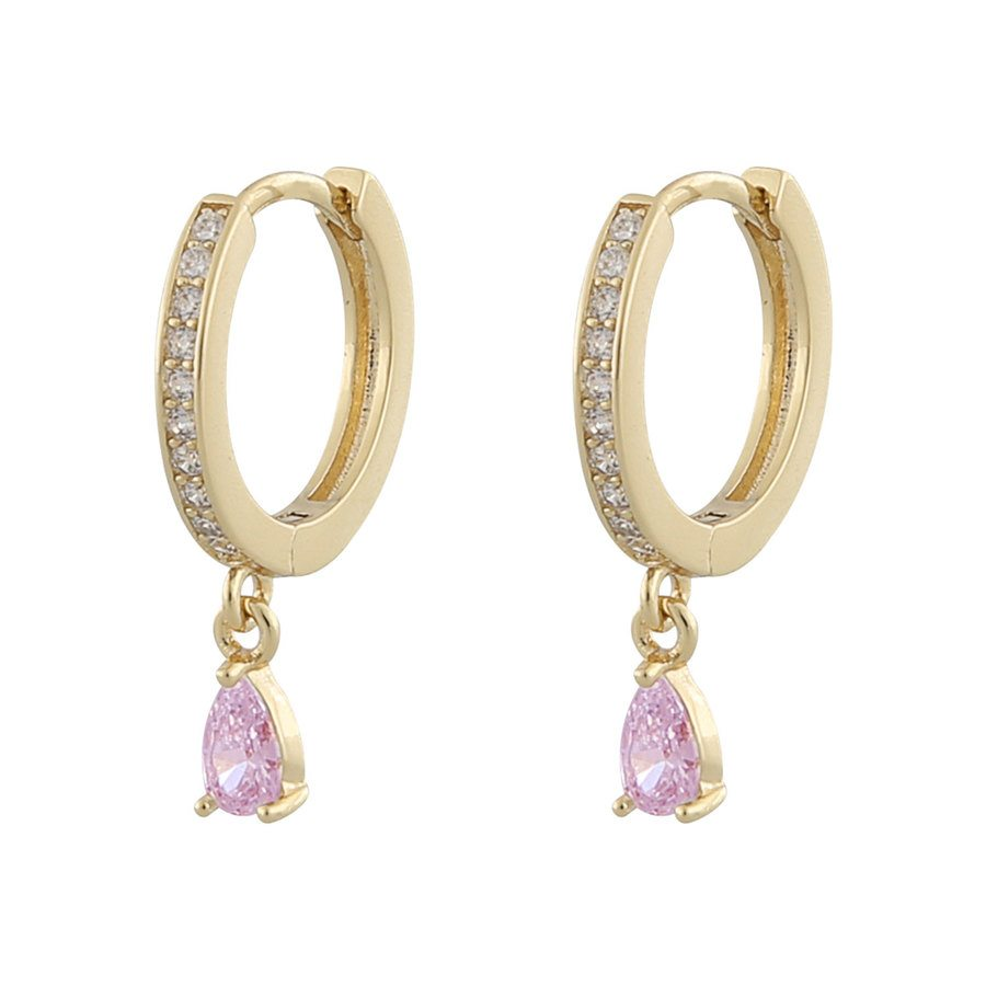 Snö of Sweden Camille Drop Ring Earring Gold/Pink