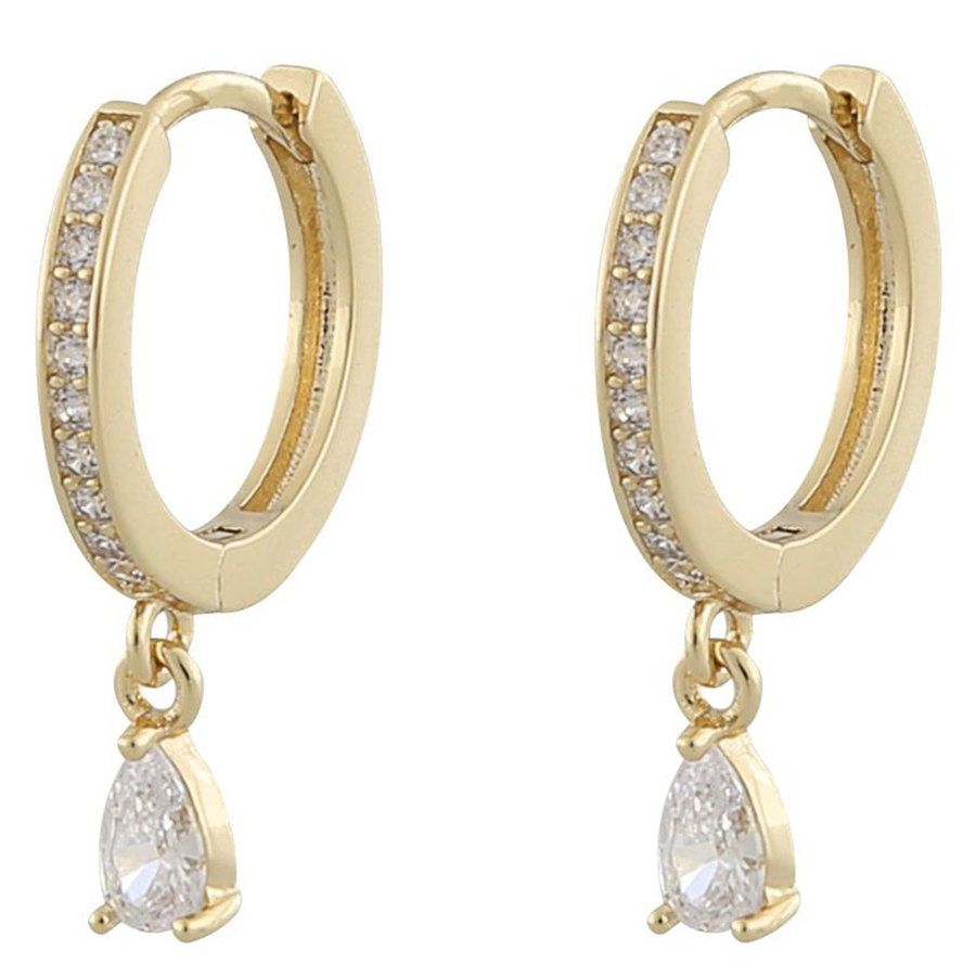 Snö of Sweden Camille Drop Ring Earring Gold/Clear