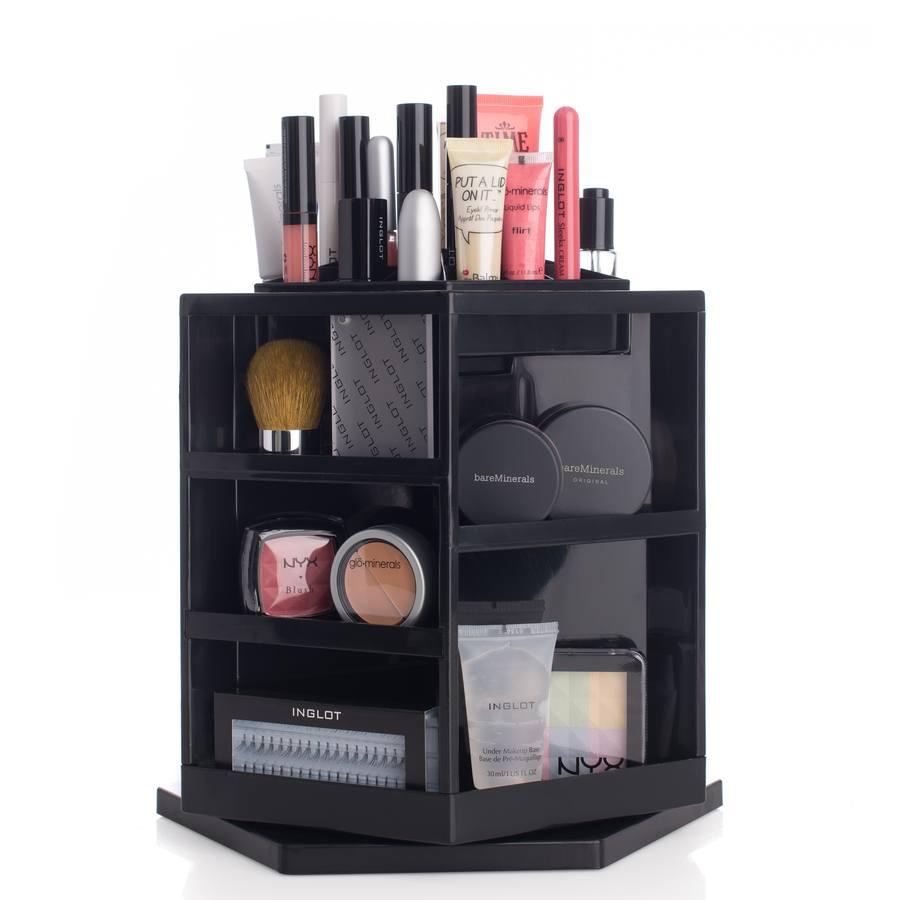 Shelas Versatile Rotating Cosmetic Organizer Svart