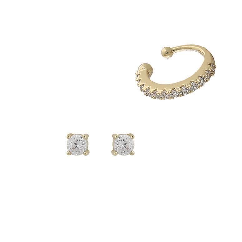 Snö Of Swedenn Hanni Cuff Set Earring Gold/Clear 3 mm