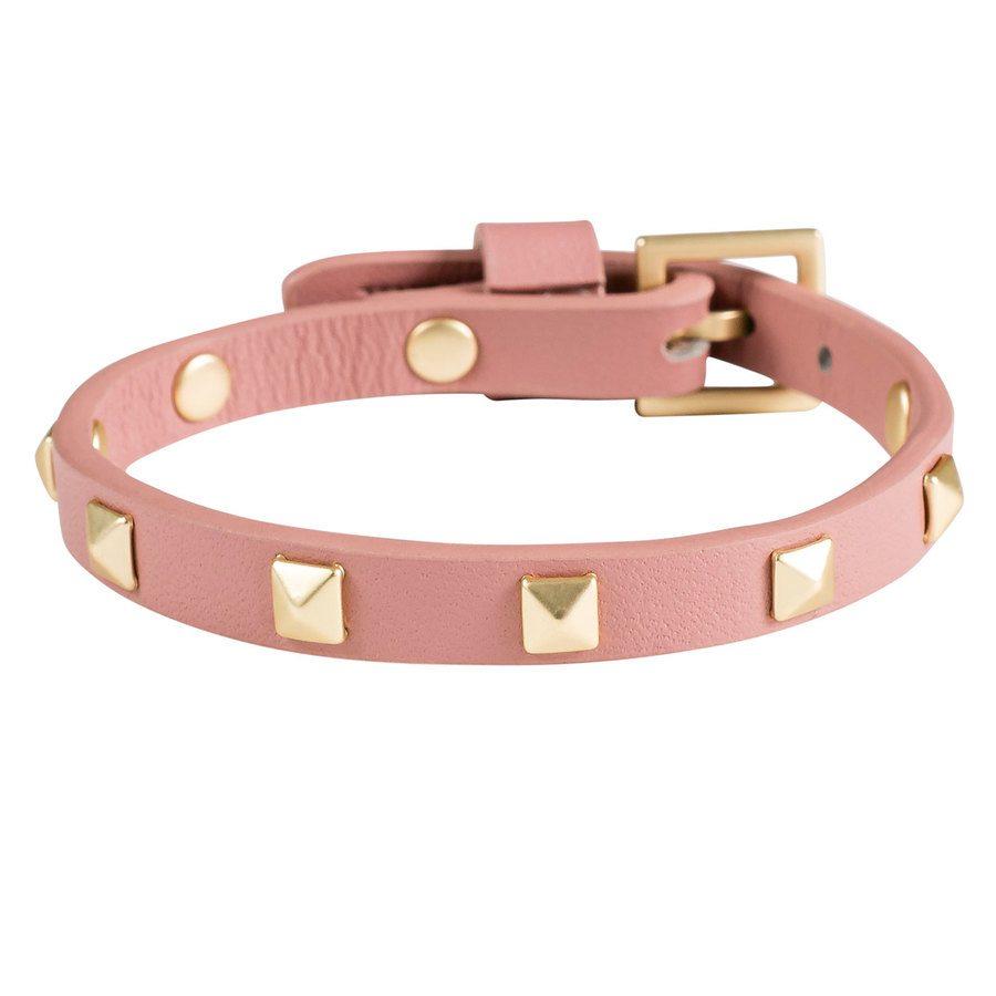 DARK Leather Stud Bracelet Mini Dusty Rose With Matte Gold