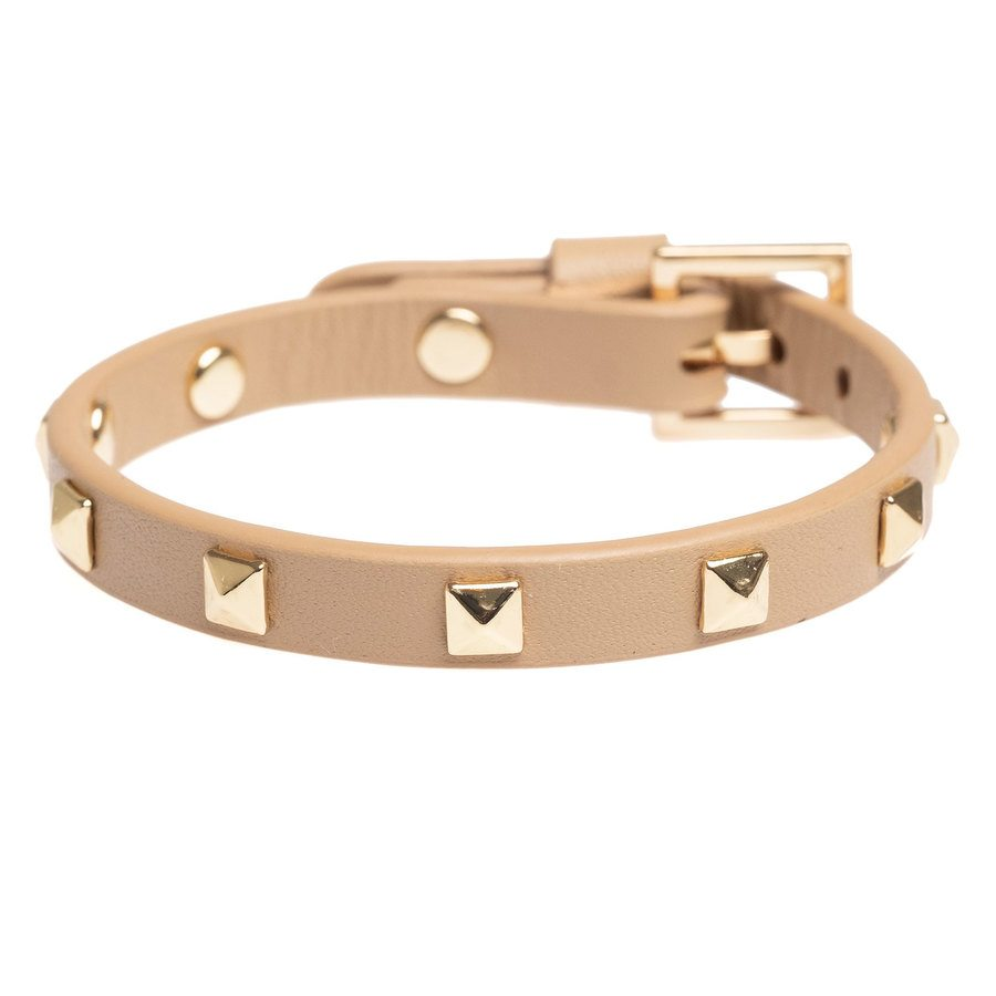 DARK Leather Stud Bracelet Mini Sand With Gold